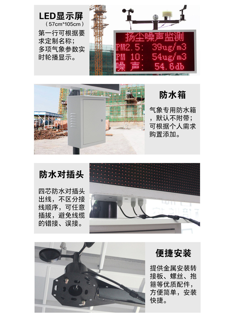 噪声监测系统 LED显示屏 防水箱 防水对插头 便捷安装
